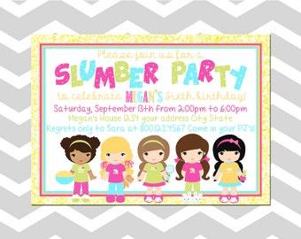 Slumber Party Birthday Invitation/Card Sleep Over Birthday Invitation/Card