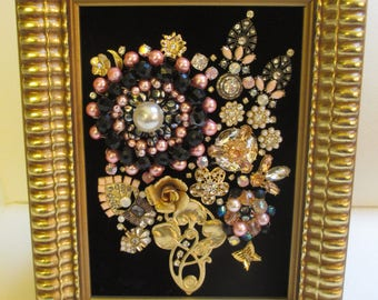 Jeweled Framed Jewelry Art Flower Bouquet Gold Black Pink Vintage Deco