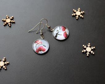 Earring, wheel / grey, poppy and Dragonfly glass cabochon