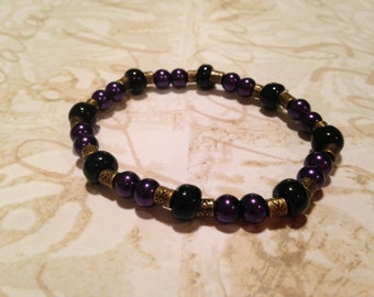Black and purple beaded bracelet