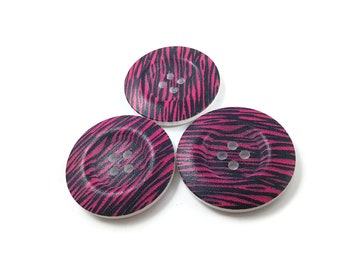 1.5 inch buttons - Pink and black zebra wooden sewing buttons - set of 3