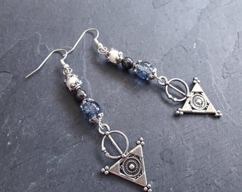 Crackle glass beads and hematite, mother of pearl earrings * omens *.