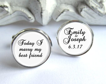 Personalized Cufflinks, Today I Marry My Best Friend, Groom Cufflinks