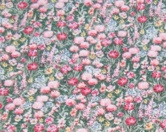 Beatrix Potter ( Frederick Warne ) for Quilting Treasures, pink, white, red floral scatter on green grass ground, Quilt Fabric 100% Cotton