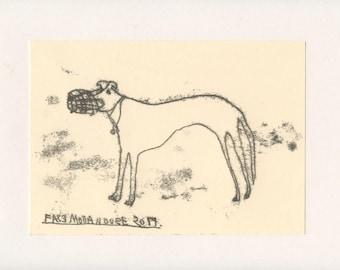 FIERCE DOG 7 - A Mono Print - Original Faye Moorhouse Illustration drawing art