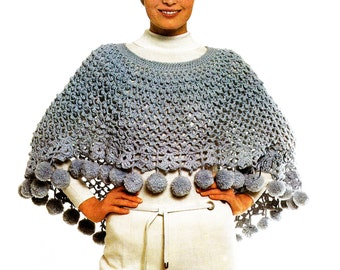 Cape Pattern Pompon Poncho Crochet Pattern Pompom Shawl Capelet Cape Pattern PDF Instant Download SH104
