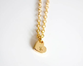 Gold initial heart charm, Dainty initial necklace, bridesmaids gift, flowergirl gift, Wedding favor, friendship necklace, mothersday
