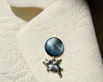 Flying Pig Blue OR Salmon Tie Tack, When Pigs Fly Lapel Pin, Pigasus Pin, Pig with Wings Tie Tac, Whimsical Lapel Pin