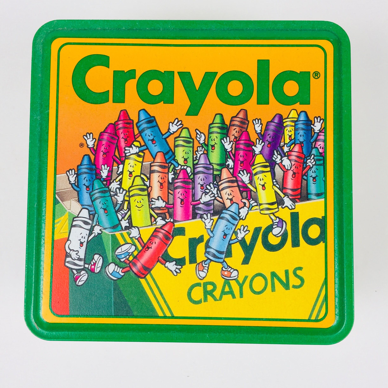 Vintage Crayola Crayons Tin Box Unused 64 Crayons Retired Colors ...