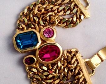 Maresco bracelet. Vintage Maresco.  Vintage bracelet. Rhinestone bracelet. Rare vintage.  Pink maresco. Purple maresco.  Blue green maresco