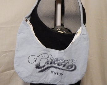 Cheers Purse, Blue with Polka Dot lining, 100% upcycled