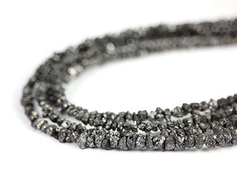 Diamond  Black Rough Bead Set of Natural Chip Beads Precious Gemstone April Birthstone