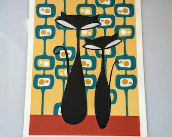 Mid Century Modern Art | Atomic Cat Wall Art, Modern Art Prints, Cat Art Illustration, Modern Art Wall Hanging, Original Silkscreen Art,