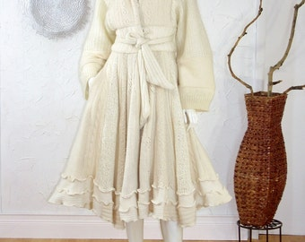 Winter White Sweater Coat/ Bridal Coat/Fully Lined/Up cycled Coat Size Small/ Marilyn Coat/ Size 4-6