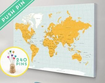 Personalized push pin world map canvas world map watercolor world map canvas with pins orange and blue colors countries capitals usa and gumiabroncs Choice Image