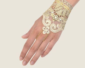 Gold Lace Finger Chain Hand Bracelet