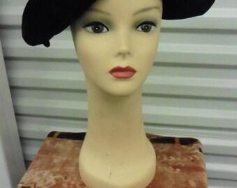 30-50s BLACK VELVET Head Hugging Formal NWT Hat