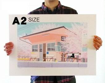 A2 size TABINEKO-Art Poster  (Cat Illustration Print) Select 30 patterns