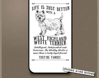 West Highland White Terrier dog phone case cover iPhone Samsung ~ Can be Personalised