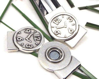 clasp magnetic silver plated leather interior 20mm watch