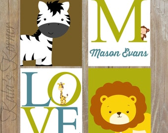 JUNGLE NURSERY ART - Safari Nursery Art, Jungle Nursery Decor, Custom Baby Name, Playroom art, Playroom wall art, Safari art, jungle art