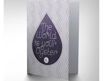 Quote Card - World Oyster Inspiration Motivation Quote Typography Blank Card CP3178