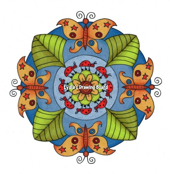 Mandala, Mandala Art, Mandala Wall Art, Mandala Print, Mandala Decor, Colorful Art, Butterfly, Butterfly Art, Ladybug, Nursery Decor, Art