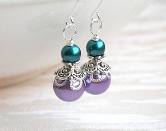 Lavender Color Pearl Bridesmaid Earrings Teal And Purple Bridesmaid Jewelry Earrings Gift Teal and Light Purple Pearl earrings Bridesmaid