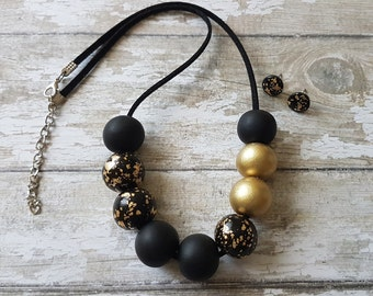 Black and gold necklace and earring set, Black statement necklace gold, Black and gold jewelry set, Gold and black necklace, Black jewelry