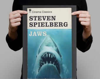 Penguin Books Classic Movie Poster JAWS POSTER Film Poster Giclee Print Ikea Ribba Size Horror Movie Poster Retro Movie Poster Movie Print