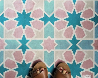 Large Floor Tile Stencil - Paint Walls and Flooring with Geometric Moroccan Patterns - Faux Tiles for Bathroom or Kitchen