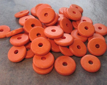 10 Orange Greek Ceramic Beads - 13mm Round Washer Disk Beads