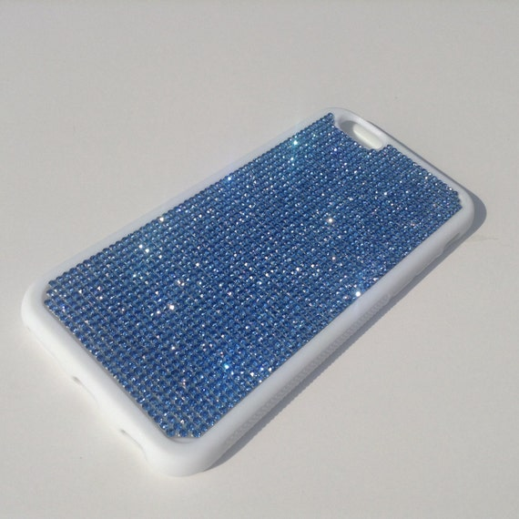 """iPhone 6 / 6s 4.7"""" Blue Sapphire Rhinestone Crystals on White Rubber Case. Velvet/Silk Pouch Bag Included, Genuine Rangsee Crystal Cases"""