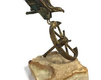 Bronze Sculpture MidCentury Curtis Jere Bird Ship Wheel Sculpture Bronze  Quartz, Brutalist Art, Nautical