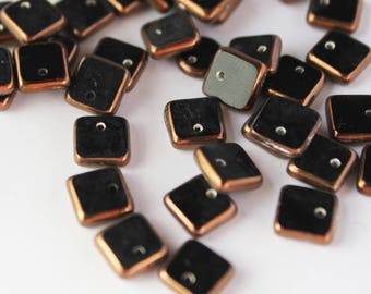 Copper 15 Czech glass square beads 6mm