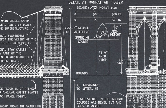 Brooklyn bridge blueprint vintage new york brooklyn bridge brooklyn bridge blueprint vintage new york brooklyn bridge architectural blueprint drawing art print poster giclee print malvernweather Image collections