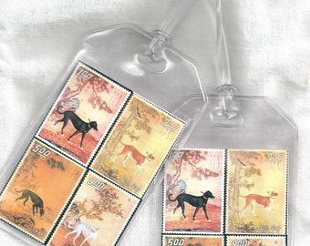 Set of 2 Greyhound Luggage Tags - Vintage Chinese Dogs Postage Altered Art