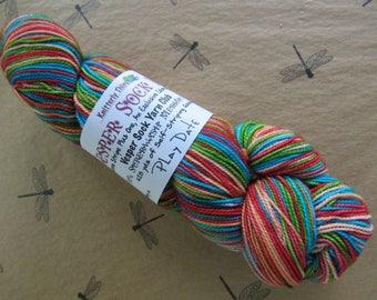 "Sock Yarn Hand Dyed Artisan ""Vesper"" Striping Yarn Exclusive Sock Club July 2011 Colorway: PLAY DATE 100% SW Merino Wool Knitterly Things"