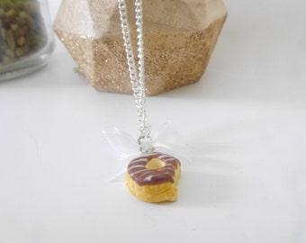 Necklace - donut chocolate polymerclay