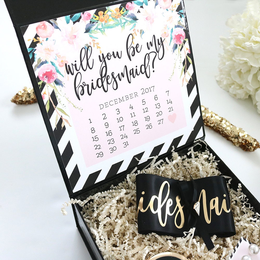 Bridesmaid Proposal Box Floral Black And White Stripes Print