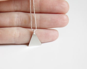 Triangle Necklace, Dainty Geometric Necklace, Gift for her, Sterling silver Triangle, Everyday Minimalist, Necklace, Layering Necklace
