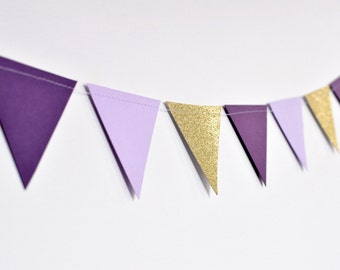 Purple and Gold Flag Bunting, Paper Garland, Birthday Party Decor, Wedding Decor, Shower Decor, Nursery