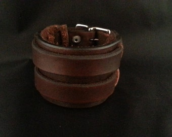 2 strap leather cuff, Double strap leather bracelet