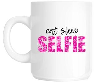 eat sleep SELFIE Gift Novelty Mug - SS42/43