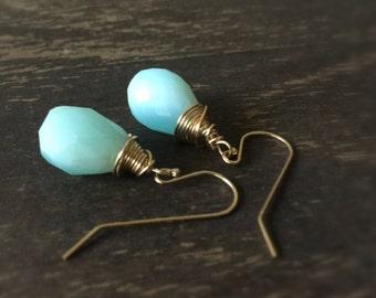 Blue Opal Earrings - Gold Jewelry - Gemstone Statement Jewellery - Modern - Fashion