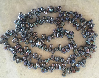 Vintage Baroque Pearl Necklace Cultured Gray Silver Green Iridescent