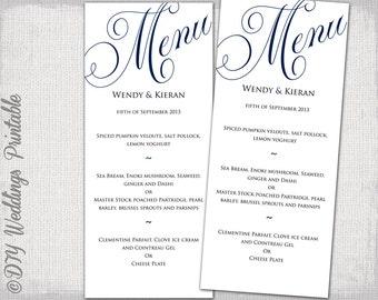 "Wedding menu template navy blue wedding menu DIY wedding menu template ""Parfumerie"" navy digital printable menu -EDITABLE instant download"