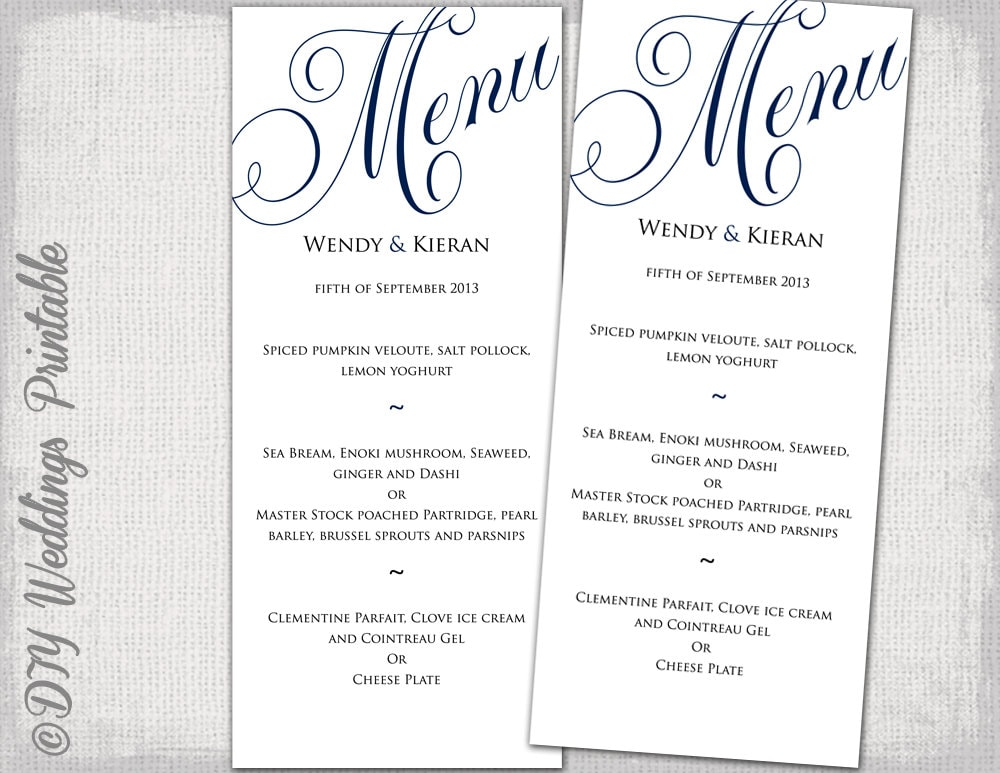 wedding menu template navy blue wedding menu diy wedding menu
