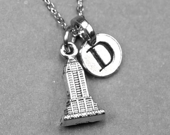 Tiny Empire State Building Charm Necklace 3D silver plated pewter, initial necklace, initial hand stamped, personalized, monogram