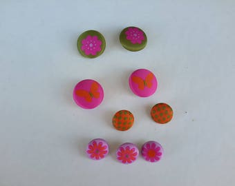 set of 9 fabric covered metal buttons